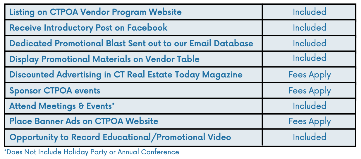Vendor Benefits of Joining CTPOA